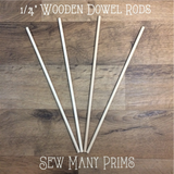 "Wooden Dowels, 1/4"" x 12"" - 4/pk - Sew Many Prims"