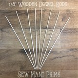 "Wooden Dowels, 1/8"" x 12"" - 8/pk - Sew Many Prims"