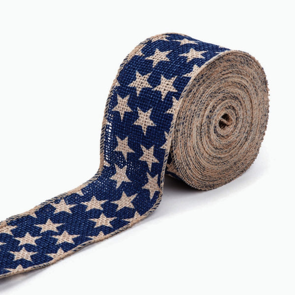 "Burlap Ribbon, navy star - 2 1/2"", 25 ft - Sew Many Prims"