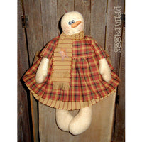 Primitive Snowgirl doll wearing dress & scarf