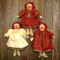 3 rag doll Angel ornaments.
