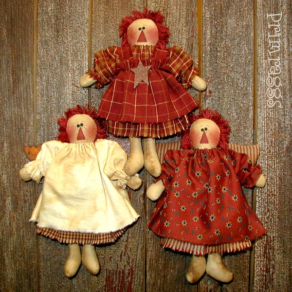 pr-123 Raggedy Angel Ornies Pattern - Sew Many Prims