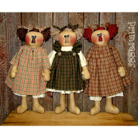 3 primitive rag dolls