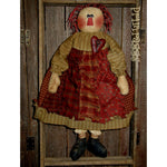 Primitive Valentine Annie wearing a rag skirt & a heart pin