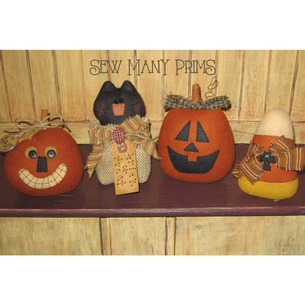 Fabric Pumpkin Head, Black Cat in Treat Bag, Jack O Lantern & Candy Corn Halloween Decorations