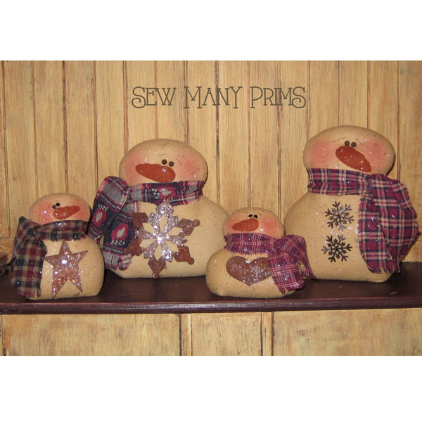 smp-012 Snowman Family Sitter Pattern - Sew Many Prims