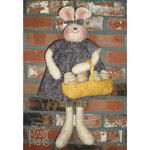fabric bunny holding basket of Easter eggs