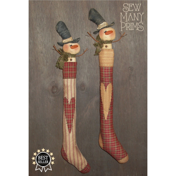 Snowmen with top hats inside tall skinny stockings