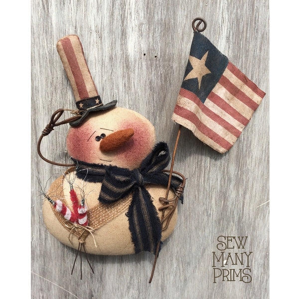 Americana snowman wearing an Uncle Sam hat & holding a flag