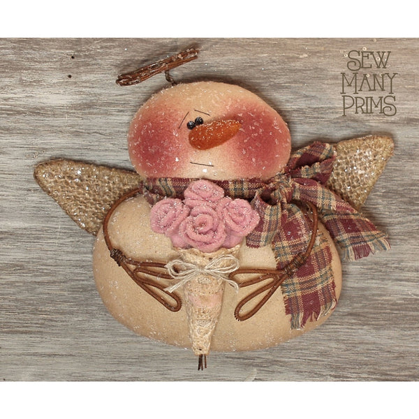 Snowman ornament with burlap wings, tin halo holding a bouquet of wool roses