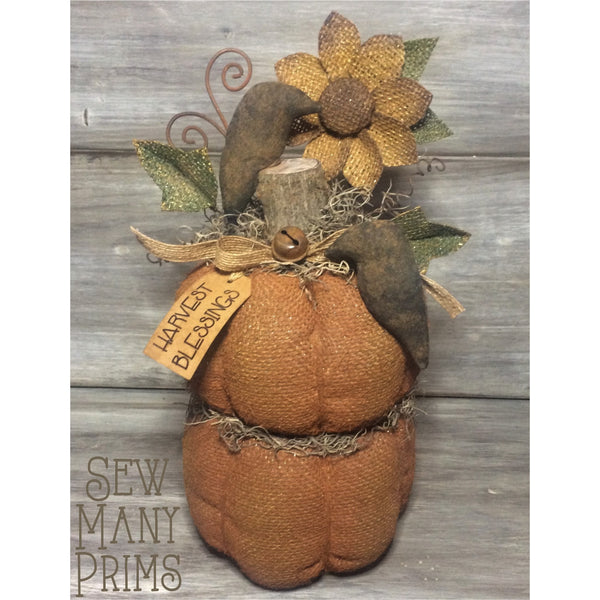 smp-081 Stacked Burlap Pumpkins Pattern - Sew Many Prims