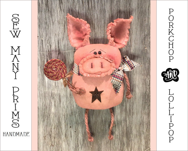 "9"" Primitive Ornie - Pig with Lolli - Sew Many Prims"
