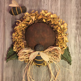"12"" Sunflower Head Door Greeter with bees - handmade - Sew Many Prims"