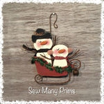 wood-001 Sleigh Riding Snowmen, Woodcraft Pattern - Sew Many Prims