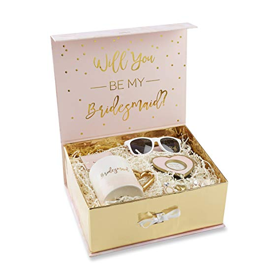 e96f3c7adaf This Kate Aspen bridesmaid kit comes with gold trimmed pink glitter heart  frame, a pink diamond shaped magnet, a gold heart-shaped magnet, 2  ring-shaped ...
