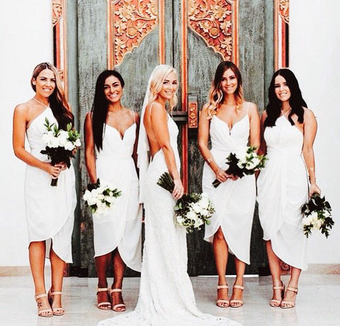 All White Bridesmaid Dresses