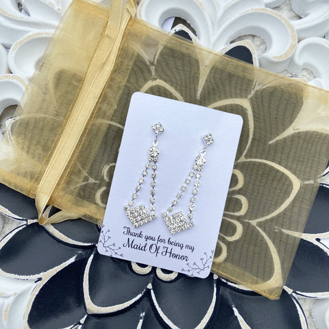 bridesmaid gift sparkly jewelry earrings