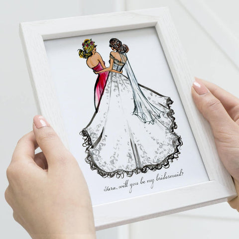 hand drawn picture of bride and bridesmaid