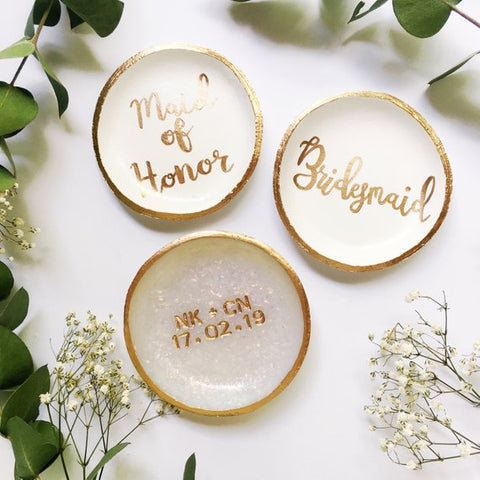 Bridesmaids clay ring dish