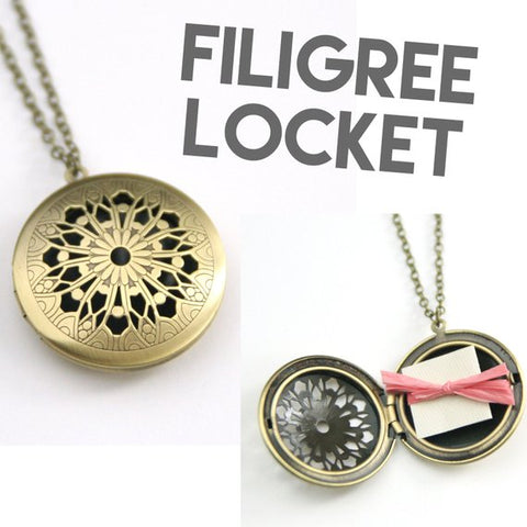 Personalized Brass Ball Locket Necklace