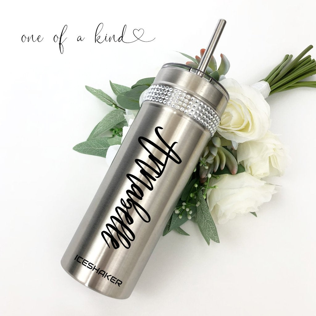Personalized bridesmaid tumbler with extra bling