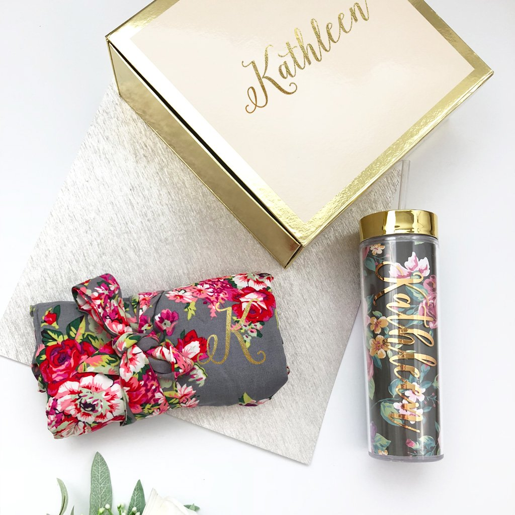 Bridesmaid Gift Box with Floral Tumbler and Robe