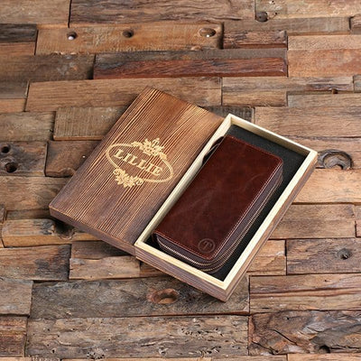 Leather Clutch Wallet in Keepsake Box
