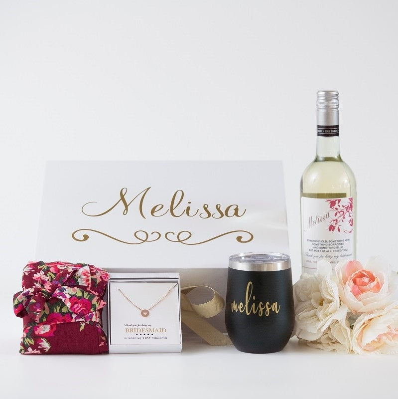 Luxury Bridesmaid Gift Box Personalized Robe Wine Cup Wine Label Bridesmaid Gifts Boutique