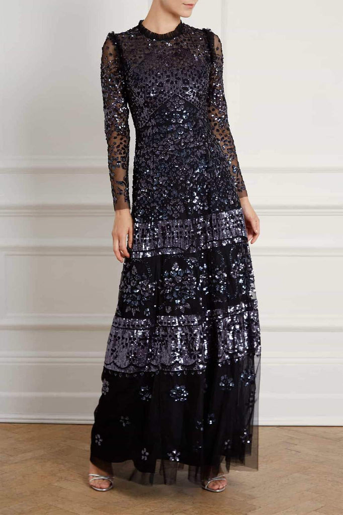 Midnight Black Beaded Gown