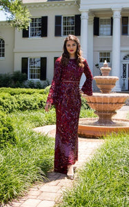 Glamour Beaded Wine Gown