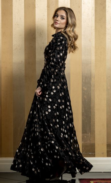 Velvet Gold & Black Dot Gown