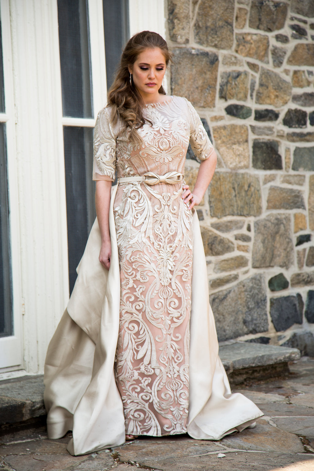 Champagne Lace Skirt Caped Gown