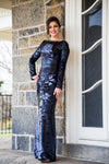 Dark blue sequin flip modest gown