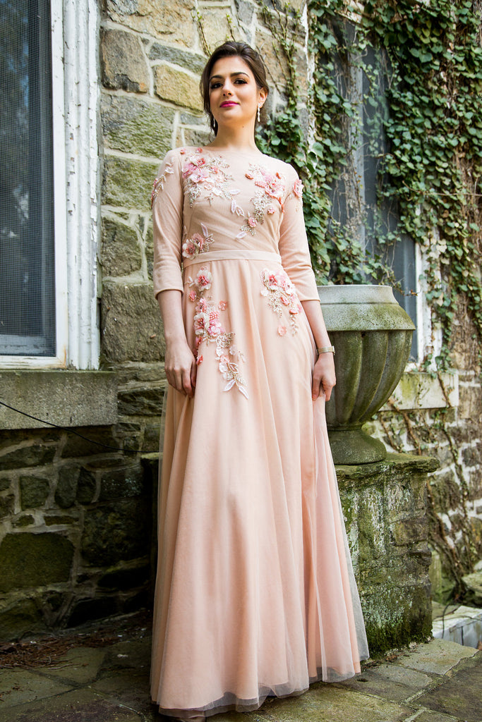 Marchesa Notte peach modest gown with embellishments