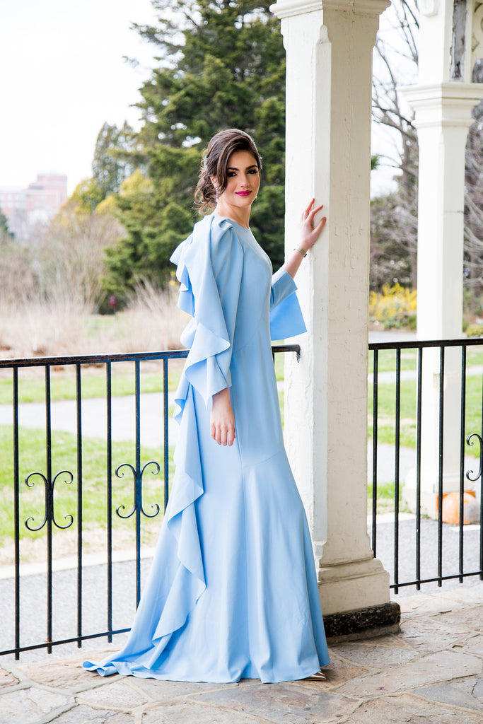 Powder blue ruffle back modest gown