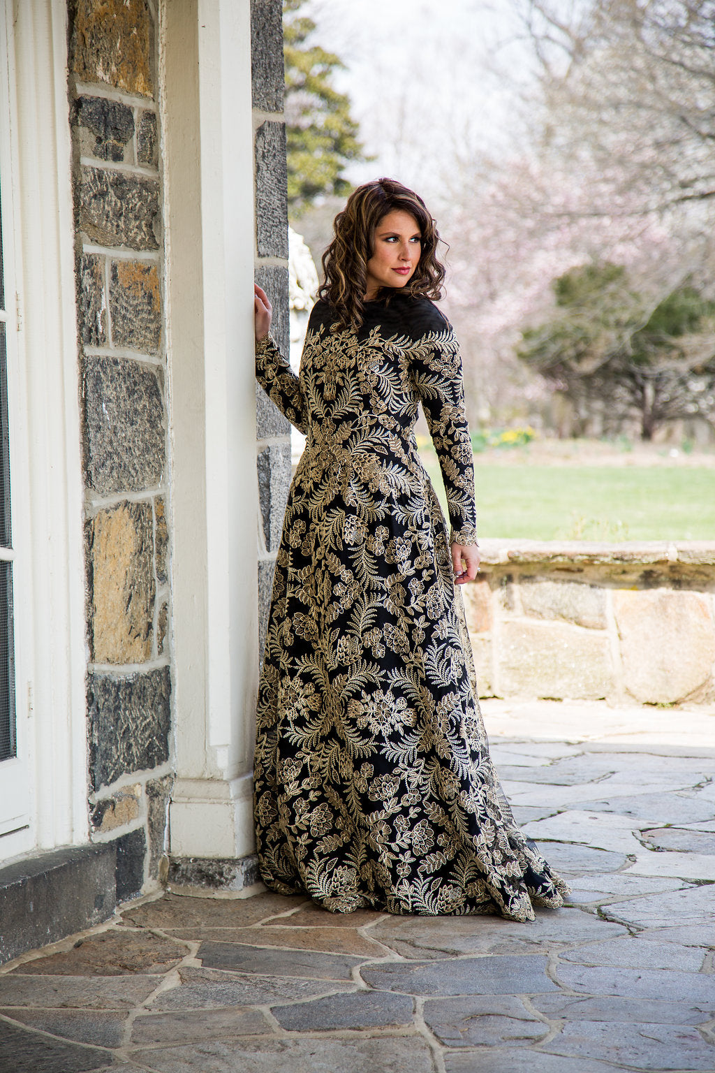Black and Gold Embroidered A-Line Gown
