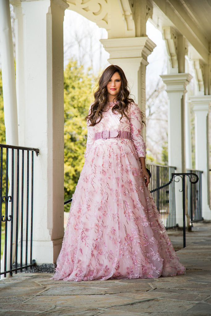 Asher Maxwell for Liylah pink floral modest ballgown