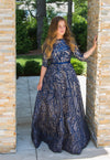 Dark blue scalloped leaf girls modest ballgown