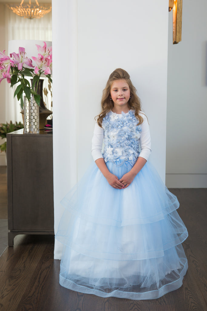 Powder blue peplum modest girls gown