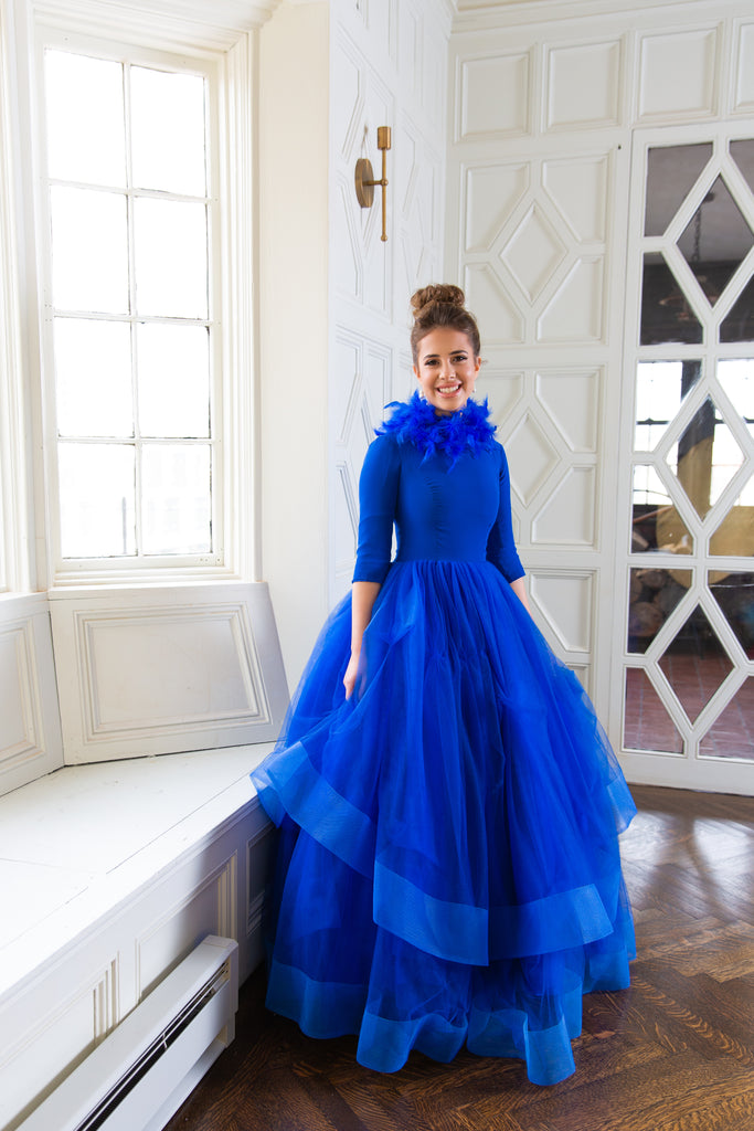 Cobalt feather girls modest ballgown