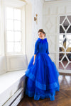 Cobalt feather modest ballgown
