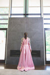 Pink box pleat modest gown with embroidered floral sleeves