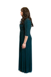 Green studded modest gown