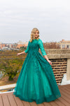 Basix emerald and hunter green floral modest ballgown
