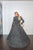 Black and silver glitter modest ballgown with skirt cape