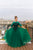 Emerald and black modest teen ballgown