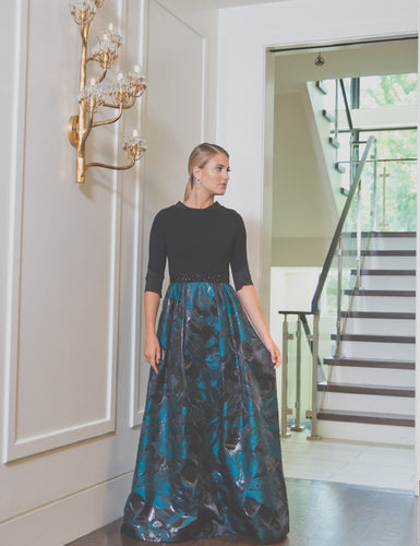 Jade and Black Formal Gown
