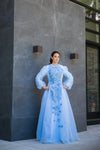 Asher Maxwell powder blue puff sleeve modest ballgown