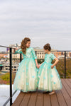 Light green vine and floral modest girls gown