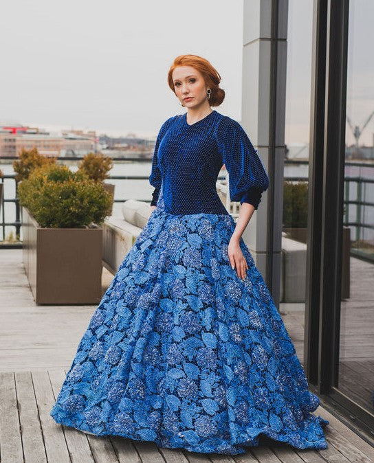 Blue lace and velvet modest ballgown